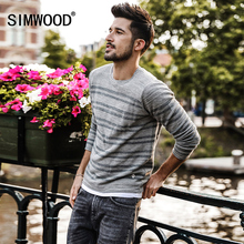 SIMWOOD Knitted Sweater Men Fashion 100% Cotton Slim Fit 2018 Spring Winter Spring New Striped Pullover Curl Hem MT017014(China)