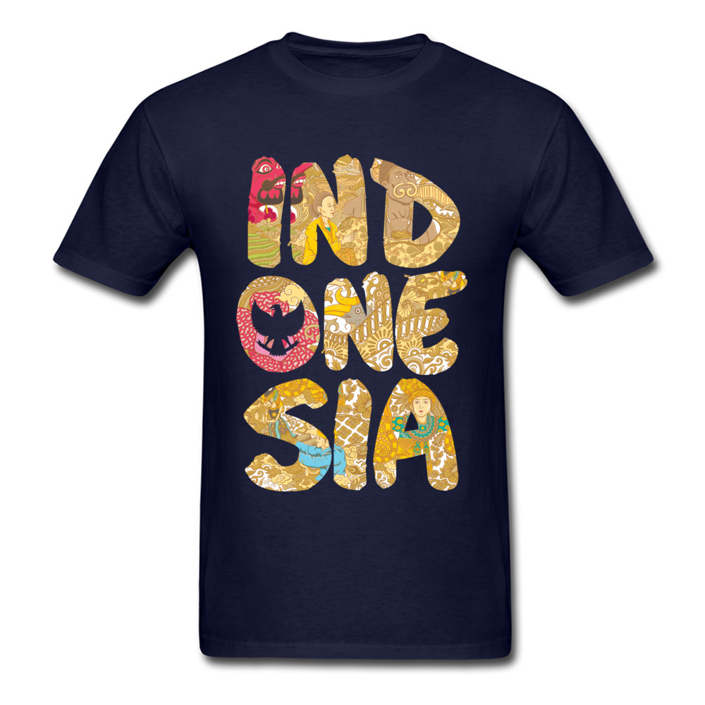 INDONESIA FONT Summer Fall All Cotton O-Neck Tops T Shirt Short Sleeve Summer Tops Shirts Prevailing Printed On T-shirts INDONESIA FONT navy