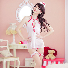 Women Medical Sheer See-through Mesh Nurse Costumes Halloween Uniform Sexy Lingerie Hot Erotic Cosplay Fantasias Dress Babydoll