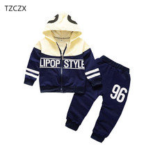 TZCZX-2720 New Children Baby Boys Girls Sets Active Fashion Printed Suit For 6 Month to 4 Years Old Kids Wear Clothes(China)