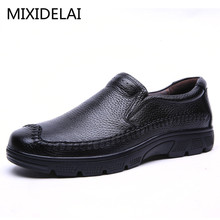 Men's Genuine Leather Shoes Business Dress Moccasins Flats Slip On New Men's Casual Shoes Dress Mens Oxford Shoes 37-50(China)