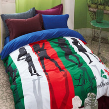 Modern style fashion lady bedding sets girls bright red blue purple bed linen ladys duvet cover set king queen size(China)