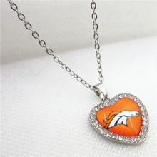 10pcs/lot USA Denver Broncos Heart Necklace Pendant Jewelry With Chains Necklace DIY Jewelry Football Sports Charms(China)