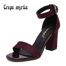Crape myrtly Women sandals Plus size 34-41 Strap buckle summer shoes woman fashion high heels Gladiator sandals women Sandalias