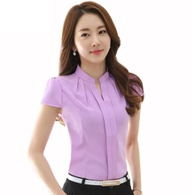2017 Summer OL Blusas Chiffon Blouse Short Sleeve Stand Tops Slim Lady Shirt Fashion Women Clothing Cheap Clothes China
