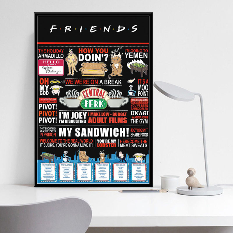 0164D Hot FRIENDS US Classic TV Series Show-Print Art Silk Poster