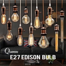 Edison Bulb Incandescent Lamp E27 220v Wedding Vintage Lamp Pendant Light Retro Lighting Ceiling lampadas Carbon Filament Bulb(China)