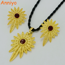 Anniyo Gold Color Ethiopian Jewelry Sets Pendant Rope And Earrings Eritrea Habesha Africa Wedding Gift #06406B(China)