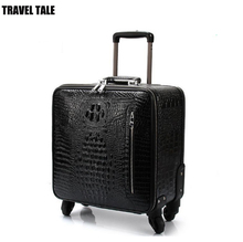TRAVEL TALE 16 inch men genuine cow leather cabin luggage 20 travel leather suitcase with wheels
