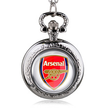 Fashion Bronze Arsenal Football Club Theme Quartz Pocket Watch With Necklace Chain Gift For Men Women