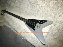 4 Strings Flying V Electric Bass Slivery New Arrival Bass Guitars High Quality Best Selling