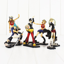 6pcs/lot 11-15cm Anime Soul Eater Maka Black Star Death the Kid Lizu PVC Action Figures Collectible Toys