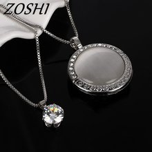 ZOSHI Vintage Long Silver Color Statement Necklace Round Eye Cat Women Necklaces & Pendants Fashion Jewelry Muilti Layer Jewelry