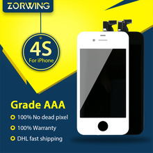 20PCS Wholesale Grade AAA Quality LCD Display For iPhone 4S Touch Screen With Digitizer Assembly in White and Black