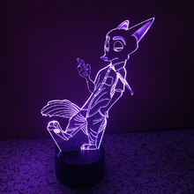 7 color Crazy Animal City Fox lamp and Rabbit light 3D LED Night Light acrylic USB Lamp Touch LED Nightlight as Gift IY803415
