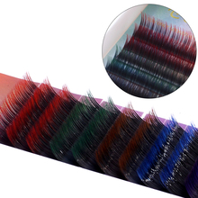 12Rows/set Rainbow Individual Eyelash Extention  5 Colors Halloween False Eyelashes Mix Colored Natural 0.1mm Faux Wimper
