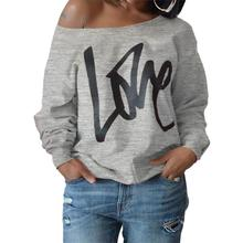 Punk Casual One Shoulder Women Hoodies Long Sleeve Pullovers Love Letter Print Sweatshirts Ladies Tops Outwear 3 Colors(China)