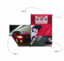 Custom Made Special Die Cut Folding Flyers Brochures with business card holder(China)