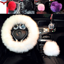 1 Pcs For Mugen Gear Shift Knob Cover Long 100% Woolen Sheep Fur Plush Universal Black\Purple\White\Red\Pink
