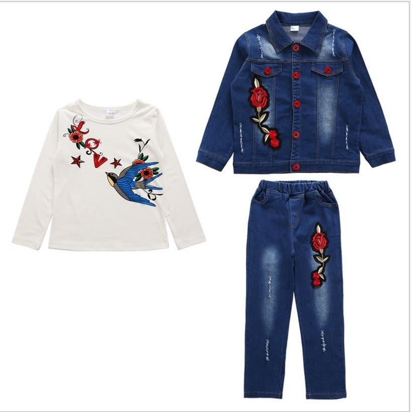 Girls Clothes Spring and Autumn Flower Long Sleeve Denim Jacket Children Broken Hole Pants Two Piece Set Kids Teens Clothes <br>