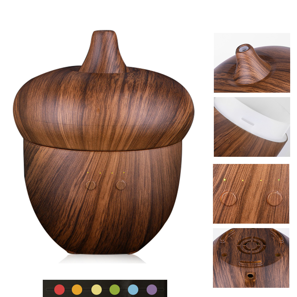 2018 NEW STYLE 300ml Aroma Essential Oil Diffuser Wood Grain Ultrasonic Air Humidifier  6 Color Changing LED Lights <br>