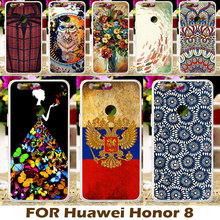 DIY Painted Design Hard Plastic Soft TPU Phone Cases For Huawei Honor 8 Honor8 5.2 Inch Cover Protective Sleeve Back Housing