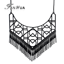 FANHUA Gothic Style Black Color Geometric Pattern Maxi Necklace Black Tassel Choker Statement Necklace for Girl and Women