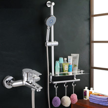 Bathroom Shower Set Brass Chrome Wall Mounted Shower Faucet With Shower Shelf  Faucet Mixer Tap With Hand Shower