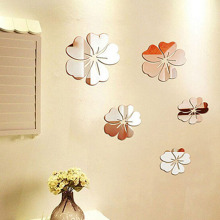 Hibiscus Design 3D Home Decoration Bed Room Wall Stickers Acrylic Mirror Wall Sticker Living Room Decor P20(China)