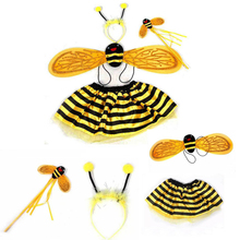 Buy Christmas Halloween Girls Bee Costume dress Bee Wings+Tutu Skirts 4 Piece Sets Kids fairy dance Costume childrens fancy dress for $4.27 in AliExpress store