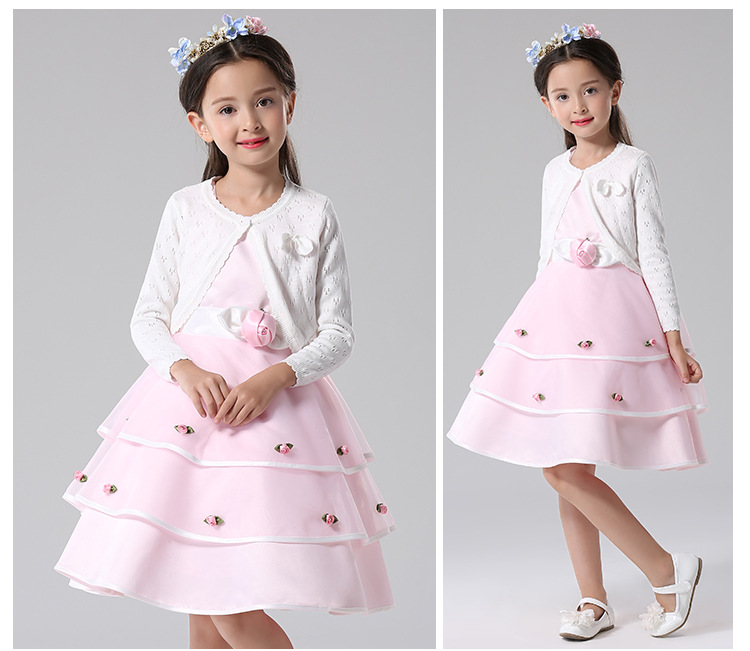 girl dress + knitted coat set, infant white lace wedding party gowns long sleeves New Year costumes for girls vestidos <br>