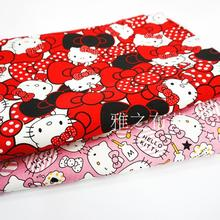 90x140cm Japanese Kawaii Cartoon Cute Pink Red Hello Kitty Thick Cotton Polyester Canvas Kitty Fabric Handmade Patchwork Cloth