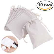 10PCS Linen Jute Drawstring Gift Bags Sacks Party Favors 8 * 10cm Packaging Bag Wedding Candy Gift Bags party Supplies(China)