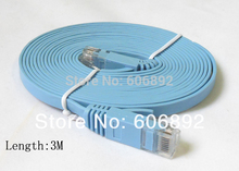 10pcs/lot 3M CAT6 RJ45 cable Flat UTP 10/100/1000Mbps Ethernet Network Cable For PC Router DSL Modem
