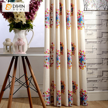 DIHIN 1 PC Linen/Cotton Embroidered Curtains for Living Room Bedroom Ready Made Drapes Blinds