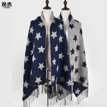 Luxury Brand women cashmere Scarf double side five-pointed star pattern Shawls and Scarves lady winter cape echarpe YL-70057(China)