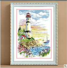 Available Factory Sale Needlework Embroidery Package Cross Stitch Kit Lighthouse Beacon Oil Painting Sea