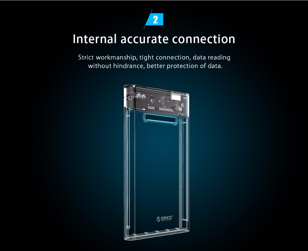 Hard Drive Enclosure 2.5 inch HDD Case Sata to USB 3.0 Transparent