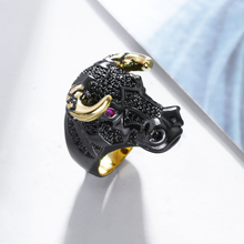 New Look Cow Shape Punk Rings For Women Black&Gold Color Lead Free Muti Color Cubic Zirconia Fashion Ring Free Allergy