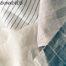 DUNXDECO 1PC 40x40CM French Simple Geometric Check Linen Table Placemat Decorative Table Napkin Cover Home Decor Photo Prop