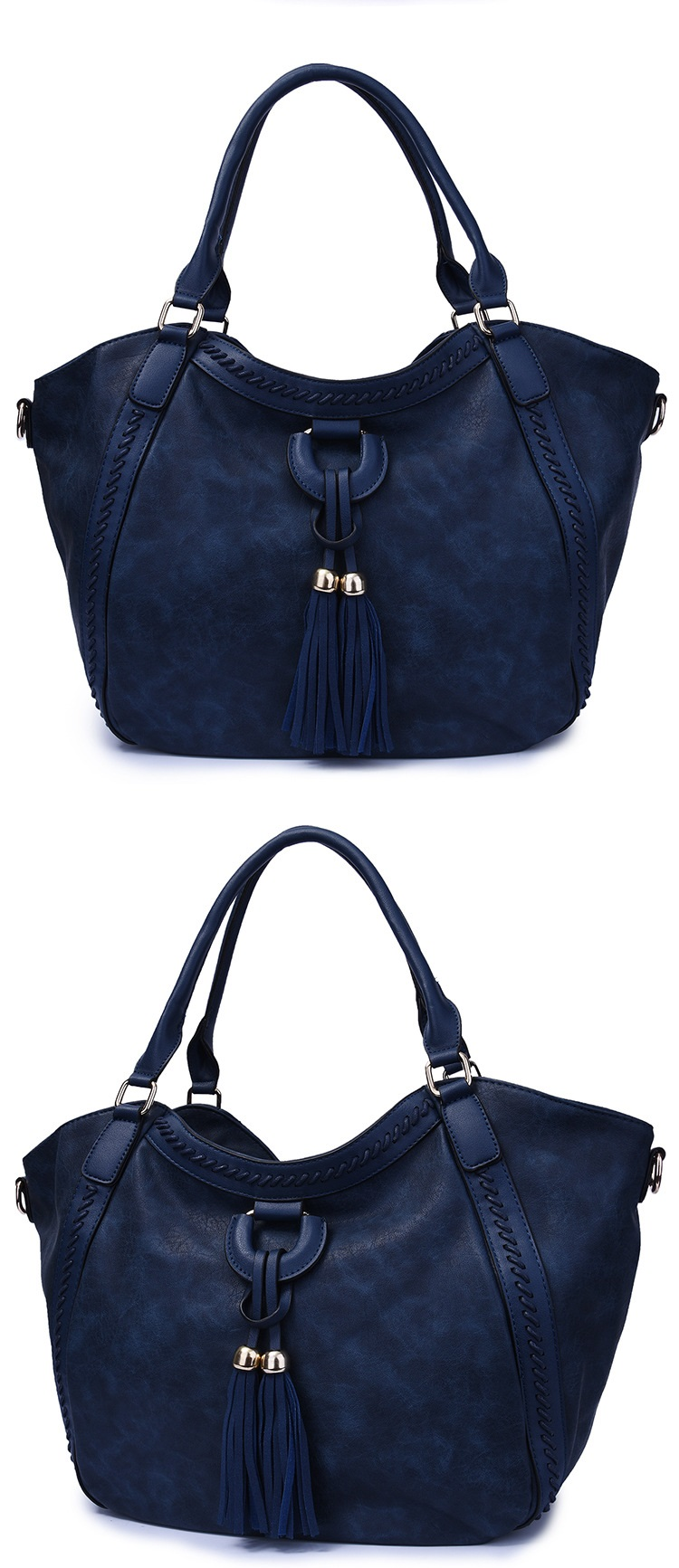 NIGEDU Leather Casual Tassel Handbag Large Famous Brands Designers Pu Leather Handbags Women Big Tote Bags Female Messenger Bags Bolsos Blue (5)