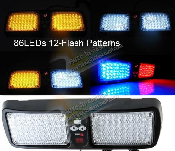 Free Shipping 86 LED Super Bright Car Truck Visor Strobe Flash Light 2x43 LED 6 Optional Colors<br><br>Aliexpress