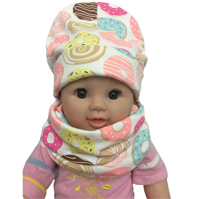 Fashion Spring Autumn Cotton Animal Print Infant Baby Hats +Scarf Sets Boys Girls Caps & Collars Suits Children Kids Beanies
