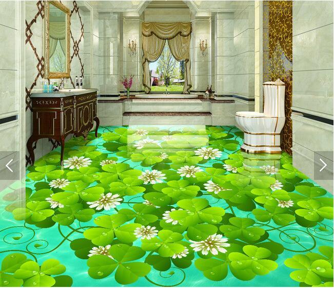 3 d pvc flooring custom waterproof picture 3 d The water green plants   3d bathroom flooring photo 3d wall murals wallpaper<br>