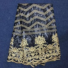 5Yards+2Yards Black African Guipure Lace Fabric 2017 High Quality Net Lace Fabric Bazin Riche Getzner Embroidery Evening Dress
