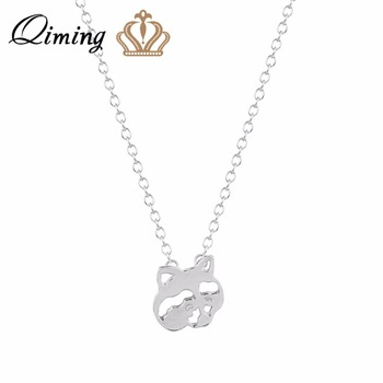 QIMING Gold Raccoon Pendant Necklace Simple Bridesmaid Daily Statement Necklace Animal Jewelry for Women Wedding Fashion Jewelry