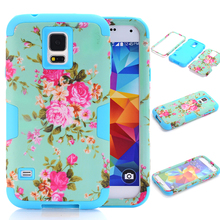 3 in 1 Case For Samsung Galaxy S5 i9600 Nice Floral Phone Cases w/Screen Protector Film + Stylus Pen(China)