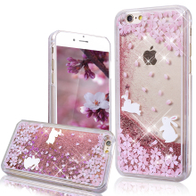 Buy YOKATA Cute Rabbit Bunny Bling Sequins Quicksand Flowing Liquid Case iPhone 5s 5 SE 6 6s 6 Plus PC Phone Protect Back Cover for $2.96 in AliExpress store