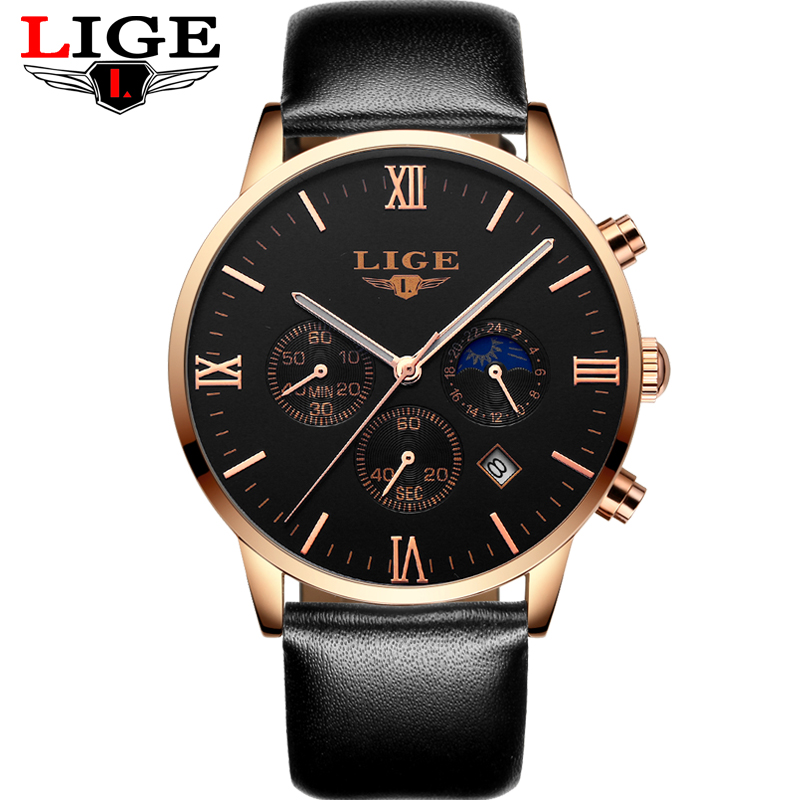 LIGE Fashion Men Watches Multifunction Business Sport Chronograph Leather Quartz Wrist Watch Men Clock Male relogio masculino<br>