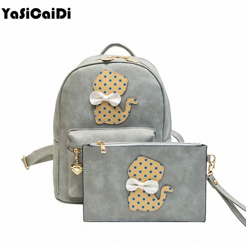 Cute Cat pu Leather Women Backpacks 2pcs set Backpacks Female School Bag Fashion Girls Bags Lady Backpack Mochila <br><br>Aliexpress